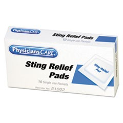 First Aid Sting Relief Pads, 10/Box