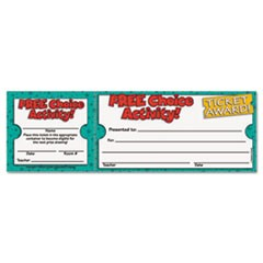 Free Choice Activity Award Ticket, 8 1/2w x 2 3/4h, 100 2-Part Tickets/Pack