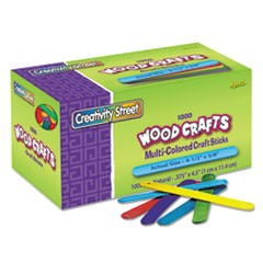 Colored Wood Craft Sticks, 4 1/2 x 3/8, Wood, Assorted, 1000/Box