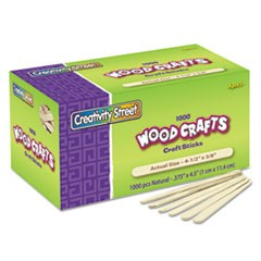 Natural Wood Craft Sticks, 4 1/2 x 3/8, Wood, Natural, 1000/Box