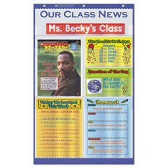 Our Class News Pocket Chart, Newspaper Layout, 6 Pockets, 18 1/2 x 29 1/2, Blue