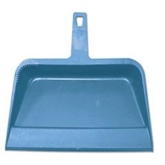 "Heavy-Duty Plastic Dust Pan, 12""W x 12""D x 4""H, Blue, 12/Carton"