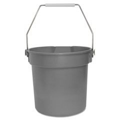 Deluxe Heavy-Duty Bucket, Grey, Polypropylene, 10qt, 10 5/8dia x 10 1/4h