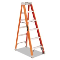 "Fiberglass Heavy Duty Step Ladder, 73.59"", Orange, 5 Steps"