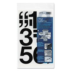 "Press-On Vinyl Numbers, Self Adhesive, Black, 3""h, 10/Pack"