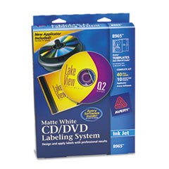 CD/DVD Design Labeling Kits, Matte White, 40 Inkjet Labels and 10 Inserts
