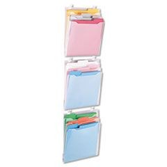 Transparent Three Pocket Panel Wall Organizers, Letter, Clear