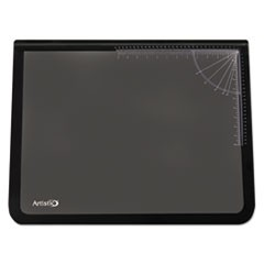 Lift-Top Pad Desktop Organizer with Clear Overlay, 31 x 20, Black