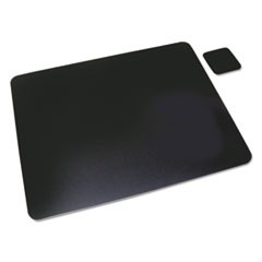 Leather Desk Pad w/Coaster, 20 x 36, Black