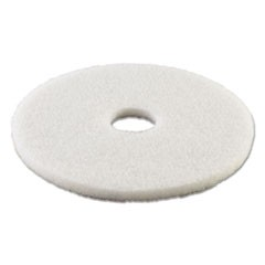 "Standard Polishing Floor Pads, 16"" Diameter, White, 5/Carton"