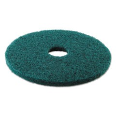 "Standard Heavy-Duty Scrubbing Floor Pads, 16"" Diameter, Green, 5/Carton"