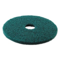 "Standard Heavy-Duty Scrubbing Floor Pads, 17"" Diameter, Green, 5/Carton"