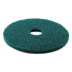 "Standard Heavy-Duty Scrubbing Floor Pads, 13"" Diameter, Green, 5/Carton"