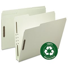 "Recycled Pressboard Fastener Folders, Letter, 2"" Exp., Gray/Green, 25/Box"