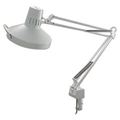 "Three-Way Incandescent/Fluorescent Clamp-On Lamp, 40"" Reach, White"