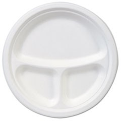 "EcoSmart Molded Fiber Dinnerware, 3-Compartment Plate, White, 9""Dia, 500/Carton"