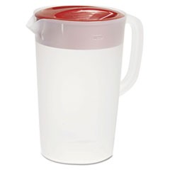 VPlastic Pitcher, 1gal, Translucent White/Red, Pour/Strain Lid, 6/Carton
