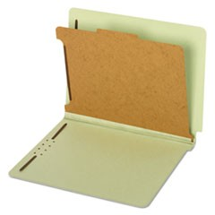 Pressboard End Tab Classification Folders, Four Sections, Letter, Green, 10/Box