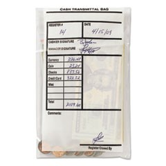 Cash Transmittal Bags, Self-Sealing, 6 x 9, Clear, 100 Bags/Box