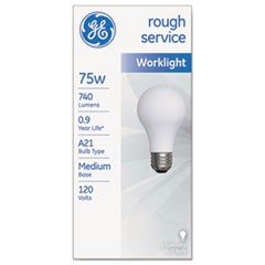 Rough Service Incandescent Worklight Bulb, A21, 75 W, 1230 lm