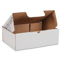 Self-Locking Shipping Boxes, 9 1/2l x 6 1/2w x 3 1/4h, White, 25/Pack