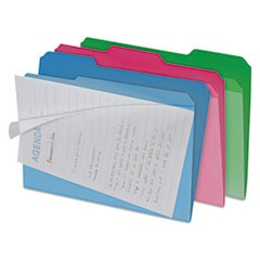 Clear View Interior File Folders, 1/3 Cut Top Tab, Letter, Assorted, 6/Pack
