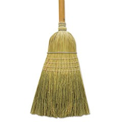 "100% Corn Warehouse Brooms, 60"", Black/Natural, 6/Carton"