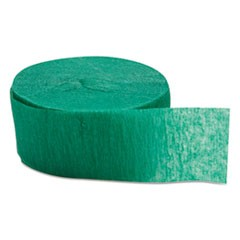 "Crepe Streamers, 1 3/4"" x 81ft, Emerald Green, 12/Pack, 12 Packs/Carton"