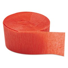 "Crepe Streamers, 1 3/4 "" x 81ft, Flame Red, 12/Pack, 12 Packs/Carton"