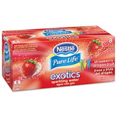 Pure Life Exotics Sparkling Water, Strawberry Dragonfruit, 12oz Can, 24/Carton