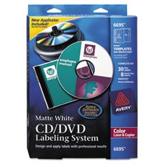 CD/DVD Design Labeling Kits, Matte White, 30 Laser Labels and 8 Inserts