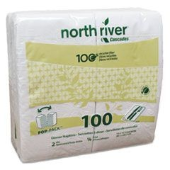North River Dinner Napkins, 2-Ply, 3 3/4 x 8 1/2, White, 100/Pk, 3000/Carton