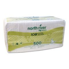 North River Luncheon Napkins, 1 Ply, 11 1/4 x 12 1/2, White, 500/Pk, 6000/Crtn