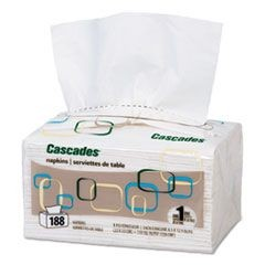 Cascades for ServOne Napkins, 1-Ply, 6 1/2 x 4 1/4, White, 188/Pk, 6016/Crtn