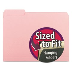 Interior File Folders, 1/3 Cut Top Tab, Letter, Pink, 100/Box