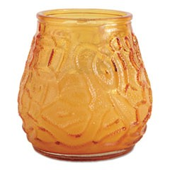 "Victorian Filled Glass Candles, 60 Hour Burn, 3 3/4""h, Amber, 12/Carton"
