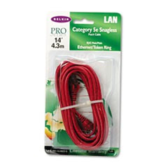 CAT5e 10/100 Base-T RJ45 Patch Cable, Snagless, 14 ft., Red