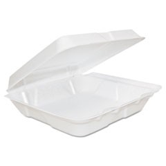 Foam Hinged Lid Containers, 8 x 8 x 2 1/4, White, 200/Carton