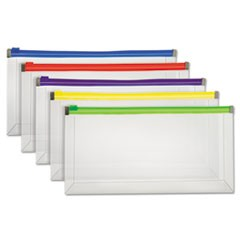 Poly Zip Envelope, Check, Open Side, Assorted, 5/Pack