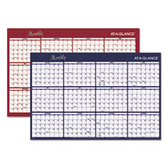 Reversible Horizontal Erasable Wall Planner, 48 x 32, 2018