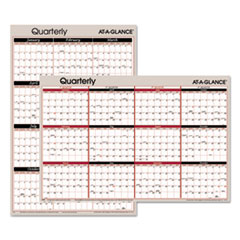 Vertical/Horizontal Erasable Quarterly Wall Planner, 24 x 36, 2018