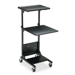 Adjustable Height Projection Stand, Three-Shelf, 18w x 20d x 42h, Black