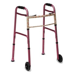 "Two-Button Release Folding Walker with Wheels, Pink/Floral, Aluminum, 32-38""H"