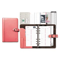 Pink Ribbon Loose-Leaf Organizer Set, 3 3/4 x 6 3/4, Pink Leather Cover