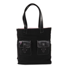 Pink Ribbon Canvas Tote, Reversible, 13 x 6 x 15, Black/Pink