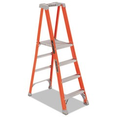 Fiberglass Four-Step Pro Platform Step Ladder, 25w x 9 1/2d x 81 1/4h, Orange