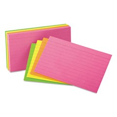 Ruled Neon Glow Index Cards, 3 x 5, Assorted, 100/Pack