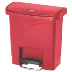Slim Jim Resin Step-On Container, Front Step Style, 4 gal, Red