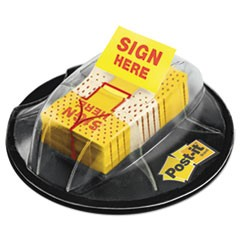 "Page Flags in Dispenser, ""Sign Here"", Yellow, 200 Flags/Dispenser"