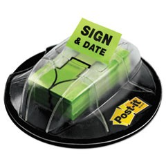"Page Flags in Dispenser, ""Sign & Date"", Bright Green, 200 Flags/Dispenser"